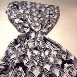 art deco vintage black and white cotton fabric