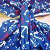 navy nautical anchors print cotton fabric