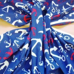 navy nautical anchors print cotton fabric