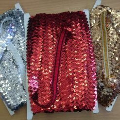 2 Row Red, Gold, Silver Stretch Sequins