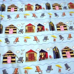 Aqua Blue Beach Huts Cotton Fabric
