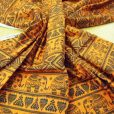 orange/green Titi caca elephants cotton fabric2