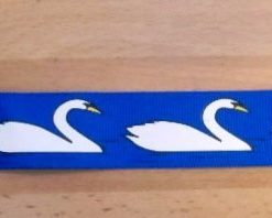 "Ribbon 1"" Wide Swans Blue"