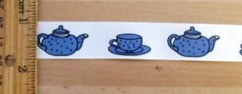 Ribbon 2cm Wide Vintage Blue Tea Pots
