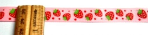 Ribbon 1.5cm Wide Strawberries Red