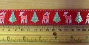 "Christmas Ribbon 1"" Wide Reindeer"