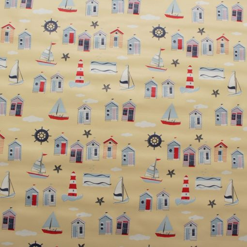 PVC Tabling Fabric Cream Beach Hut