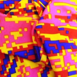 Lycra Patterned Red Mine Craft