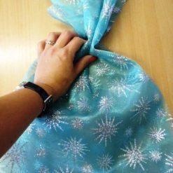 Organdie Glitter Elsa Snowflakes Jade Texture