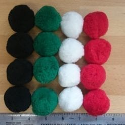 pom poms available in black, white, green and red