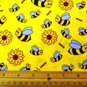 Yellow Bees Cotton Fabric