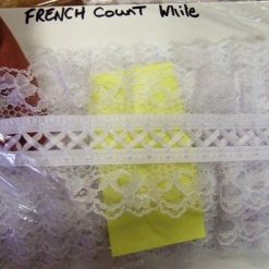 Gathered Insert Double Sided Lace French Count Trimming 8cm