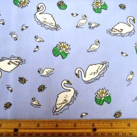 Katie Kandles Swans Print Cotton Fabric