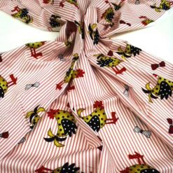 Pink Stripes Chicken Cotton Fabric
