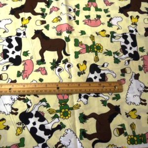 Cream Farmyard cotton fabric