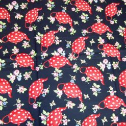 Rosy Teapots Cotton Fabric