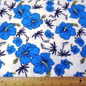 Hawaiian print blue print cotton fabric