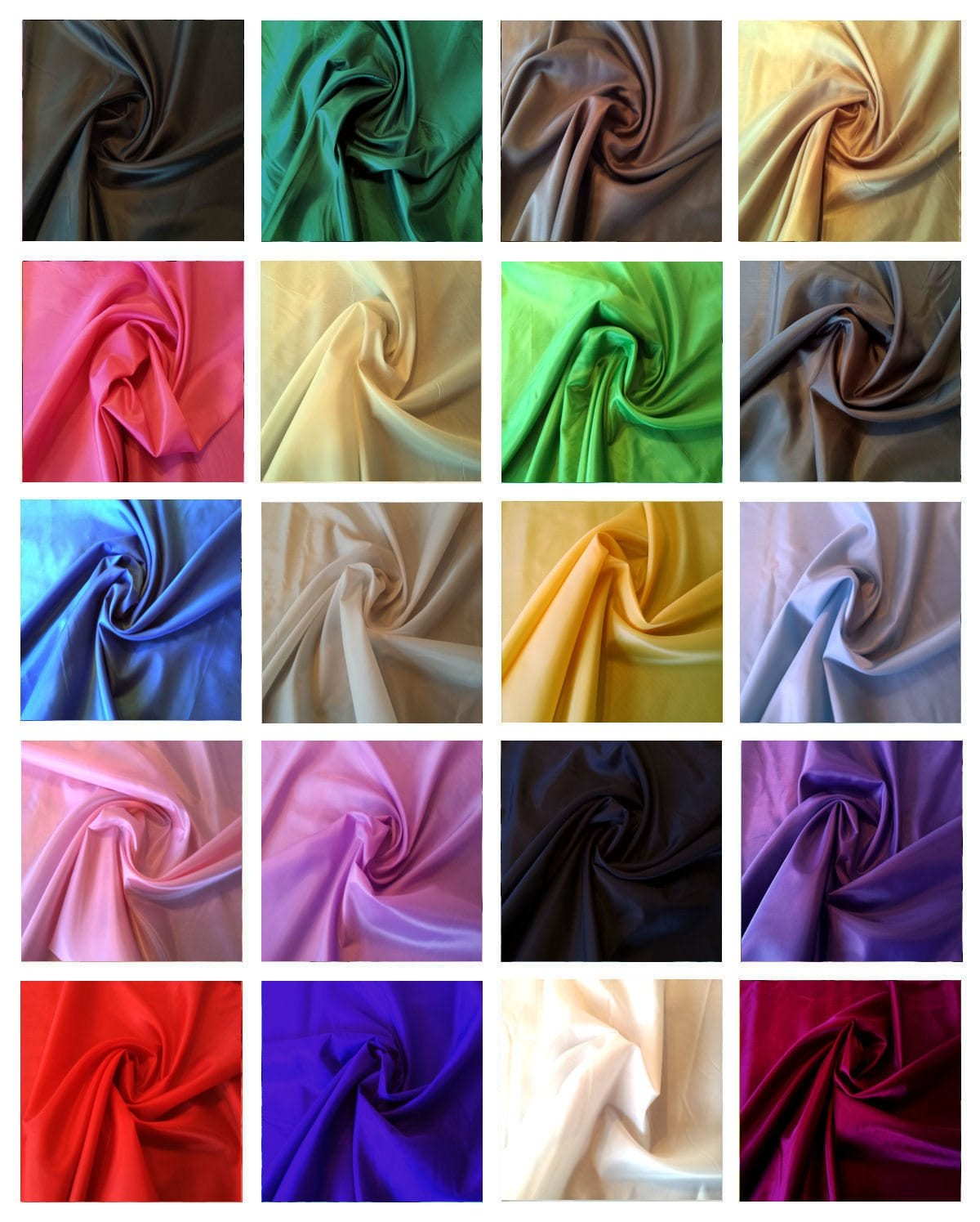 """POLYESTER DUPION FABRIC 54/"""" WIDE 22 COLOURS SHADE CARD FOR £3.50"""