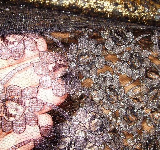 louis 14th lace black/silver