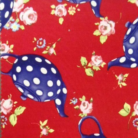 Katie Kandles Tea Pots Print Cotton Fabric
