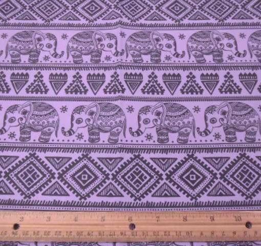 black/mauve Titi caca elephants cotton fabric
