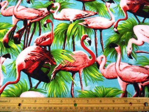 Turquoise Flamingos cotton fabric