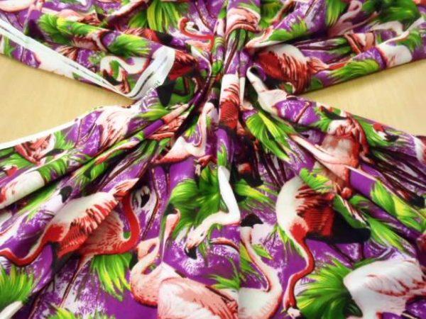 purple Flamingos cotton fabric