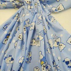 blue doggy owls cotton