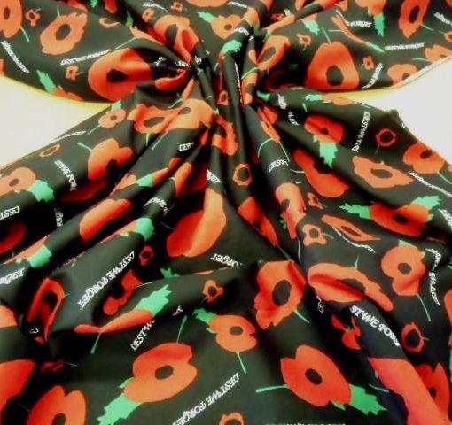 black remembrance poppies print cotton