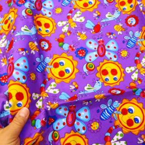 purple Sunshine Garden cotton fabric