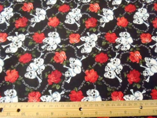 Black Skulls Chained To Eternity Cotton Fabric