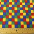 primary Checkers squares cotton fabric