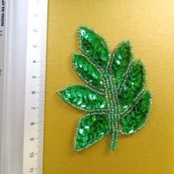 emerald sequin leaves