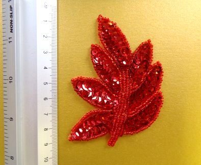 red sequin leaves