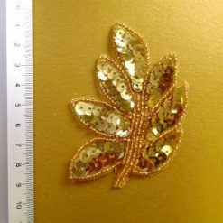 gold sequin leaves