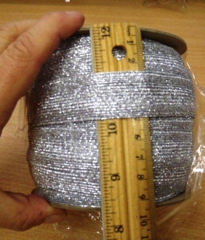 2.5cm Wide Metallic Elastic Silver