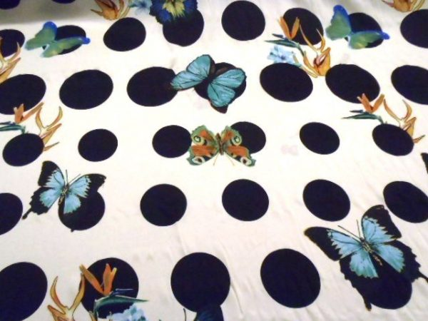 Polyester Crepe de Chine White Hello Butterflies