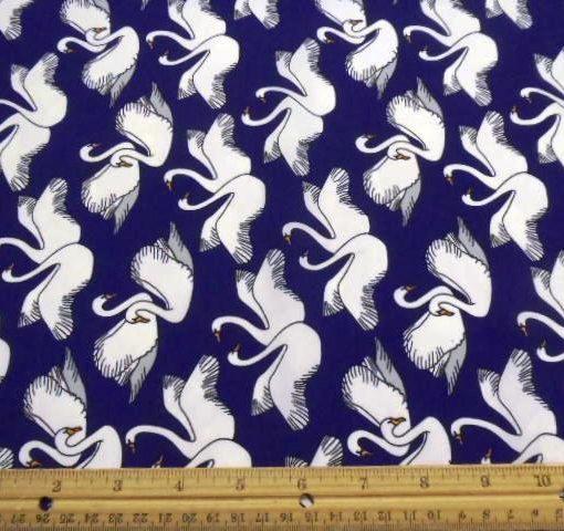 Polyester Crepe de Chine Royal Swans