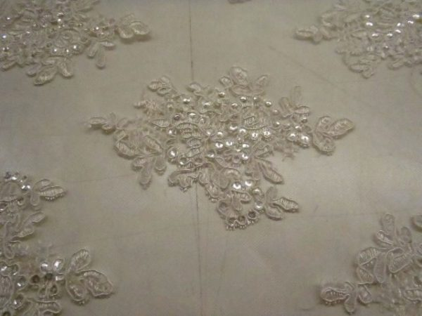 Ivory Lace Guipure Swiss Quality Embroidered Sequin Lace Polyester