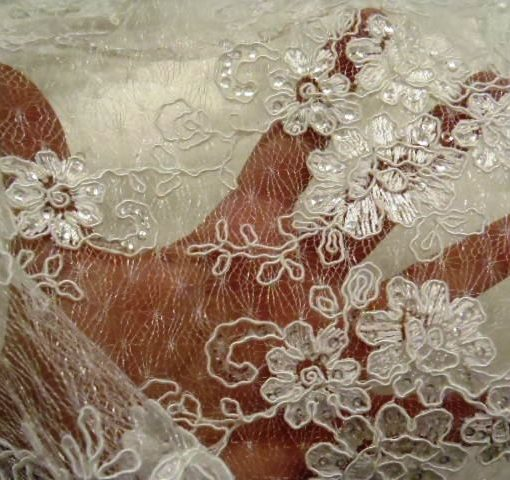 Ivory Lace Embroidered Sequinned Lace Floral Monet Polyester