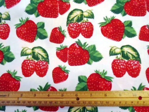 Giant Strawberries Cotton Spandex Sateen
