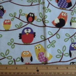 Birds Patterned Winceyette Brushed Cotton Blue