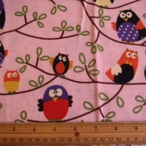 Birds Patterned Winceyette Brushed Cotton Pink
