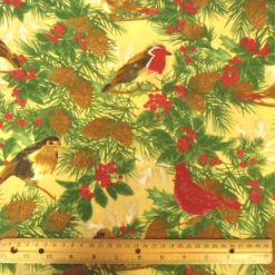 Cock Robin Polyester Cotton Print Gold