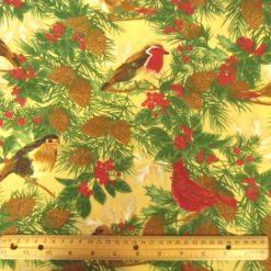 Cock Robin Polyester Cotton Print Gold