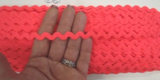 Fluorescent Coral Small Ric Rac Trim