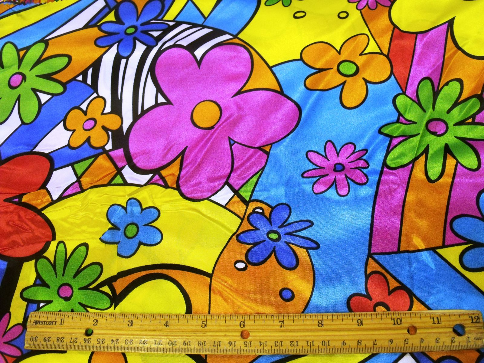 09c2394246 Satin Print Fabric Flower Power