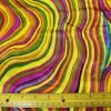 Satin Yellow Stripe Wavy Colours Print