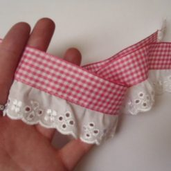 "2"" Gingham Gathered Anglais Ribbon Lace Miss Rosie"