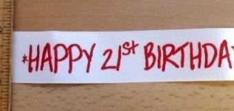 "Ribbon 1"" Wide Happy Birthday"
